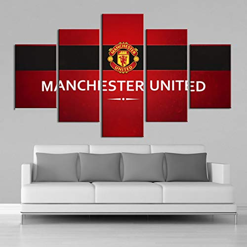 HSART 5 Pieces Wall Canvas Paintings Manchester United Flag Wall Art Prints Pictures Sports Football Posters Bedroom Decor,B,40x60x2+40x100x1+40x80x2