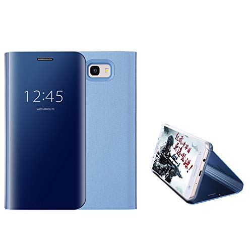 COOVY® Funda para Samsung Galaxy J5 Prime SM-G570 / SM-G570F / SM-G570F/DS Aspecto metálico, armazón, Lujosa, Ventana de Espejo Transparente, visión Clara, Soporte   Color Azul