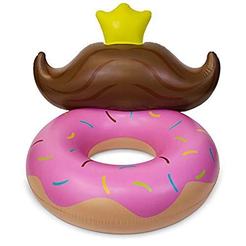 CGMZN Schwimmring 140 cm aufblasbarer Donut Pool Schwimmstuhl Schwimmring Sonnenbaden Bett mit Bart Strand Meer Wasser Party Spaß Spielzeug Aufblasbare Matratze, Rose