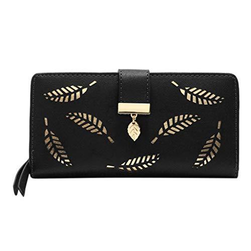 Geldbörse Brustbeutel Damenmode Reine Farbe Hohlblatt Leder Kartenhalter Brieftasche, Waschbar Geschäftsreise Modisch Süß (Black)