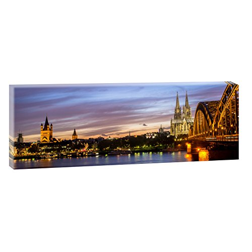 Querfarben Preishammer-Köln - Skyline | Panoramabild im XXL Format | Trendiger Kunstdruck auf Leinwand | Verschiedene Größen (150 cm x 50 cm)