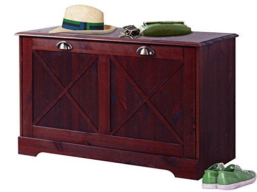 Loft24 Schuhschrank Kiefer massiv Schuhbank Sitzbank mit Aufbewahrung Bank Flur Garderobe Landhaus Dunkelbraun 90 x 40 x 55 cm