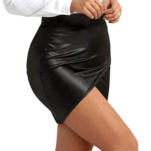 TiaoBug Damen Wetlook Leder Rock Bleistift Röcke Mini Leder Asymmetrisch High Waist Skirt Figurbetont kurz Enger Lederrock in Schwarz gr S-XL Schwarz XL