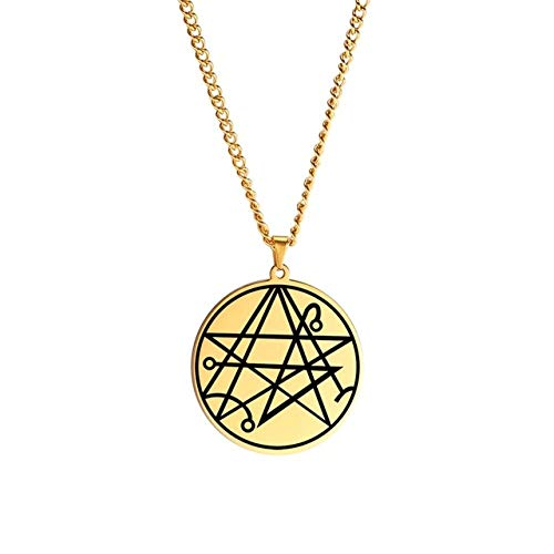 Pentagram Necklace Men Necronomicon The Gate Of The Gods Solomon Kabbalah Amulet Figures Star Of David Pendant Jewelry 60Cm