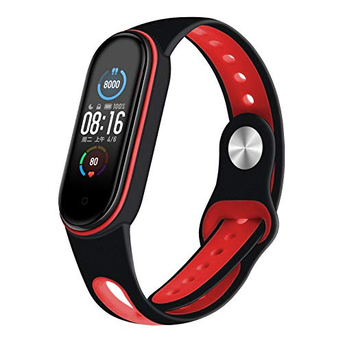 Aerku Correa de Silicona Compatible con Xiaomi Mi Band 5, Correa de Reloj Muñequera Ajustable Banda de Reloj para Xiaomi Mi Band 5 - Negro y Rojo
