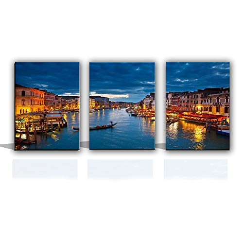 YJ Venice Landscape Canvas Wall Art - Triptych Italy Grand Canal from Rialto Bridge View Canvas Print - Canal Cityview Skyline Picture Print Dining Room Livingroom Bedroom Wall Decor 3 Panel in 1 Set