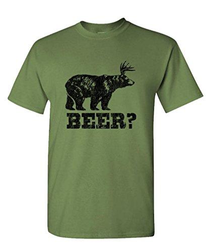 Retro Deer Beer Bear - Funny frat Party Tee Shirt T-Shirt, L, Military