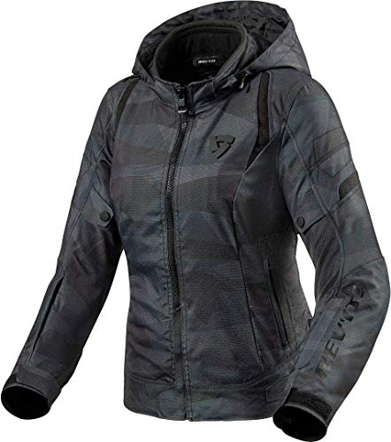 REV'IT Damen Motorradjacke Flare 2 Lady mit Kapuze in Camouflage Wasserdicht mit herausnehmbaren Thermofutter, 42