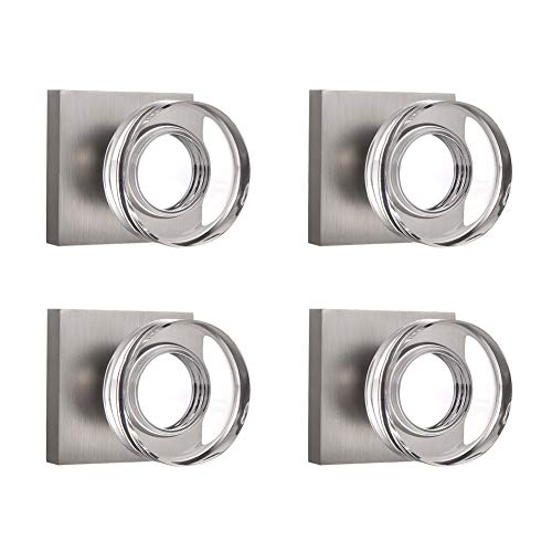 COOLNEWS 4 PCS Non Working French Door knobs Glass Satin Niskel with Square Plate, Satin Nickel Finish