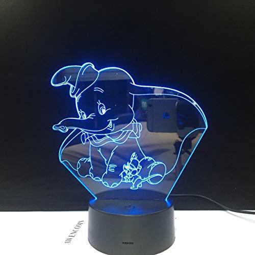 Solo 1 pieza Elefante de dibujos animados elefante 3D LED luz de noche bebé luz de noche cambio de color decoración de interiores niños niñas niños regalos
