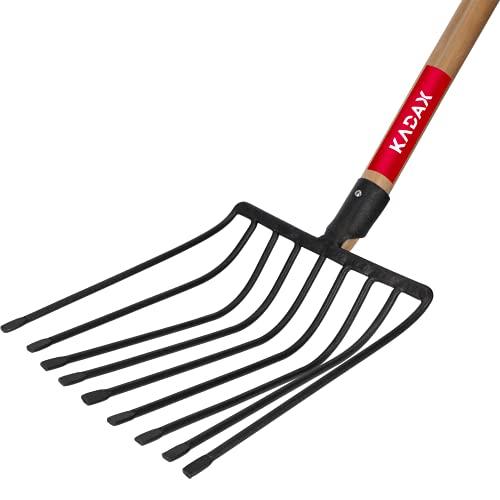 KADAX Steingabel aus Stahl, Rübengabel mit D-Griff, Forke mit Holzstiel, Spatengabel, Heugabel, Kartoffelgabel, Mistgabel, Gabel für Steine (Schwarz)