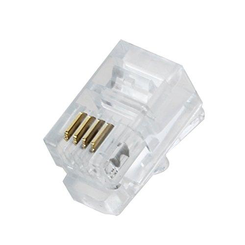 Adaptador para telefono - TOOGOO(R) Plastico Transparente para 4P4C Conjunto de 30 Conectores RJ9-adaptador para telefono
