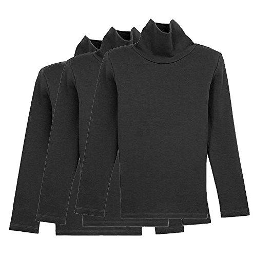 CVERRE Little Girls Boys 3 Pack Turtleneck Cotton Long Sleeve tees (110, 3BK)