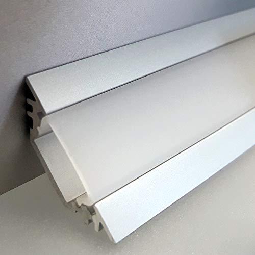 LEDsikon® LED Profil TRIO-T ALU 2m eloxiert + weiße Abdeckung, Set