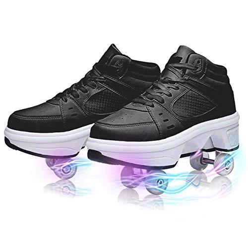 GGXINT Zapatos con Ruedas Patines De Deformación Informal Zapatos para Caminar Automáticos Zapatos De Polea Invisible Zapatos De Patinaje Unisex,Black with Light,35