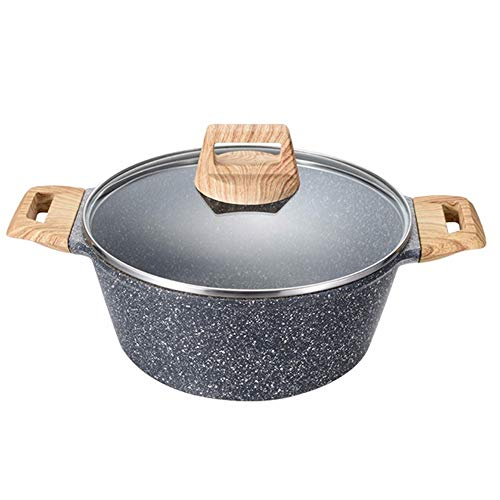 9.5 Inch/6 Quart Stone-Derived Non-Stick Granite Coating Casserole Stockpot with Lid, Fume-free Soup Stew Noodle Cooker Universal (Size : 22×12.5×16.0cM)