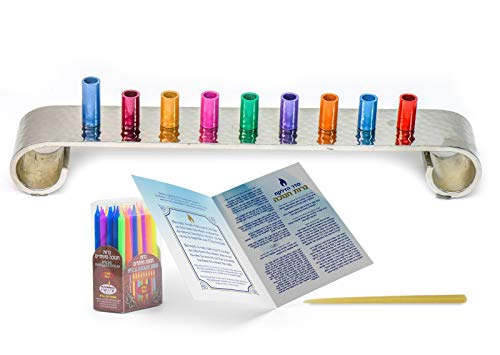 HOLY VOICE Hanukkah Menorah Premium Set – Complete Set with Chanukah Candles, Silver-Plated Menorah – Prayer Book with English and Hebrew Translation (Colourful)