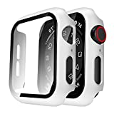 Tauri 2 Pack Hard Case Compatible for Apple Watch SE Series 6 5 4 40mm Built in 9H Tempered Glass Screen Protector Slim Bumper Touch Sensitive Full Protective Cover Compatible for iWatch 40mm - White