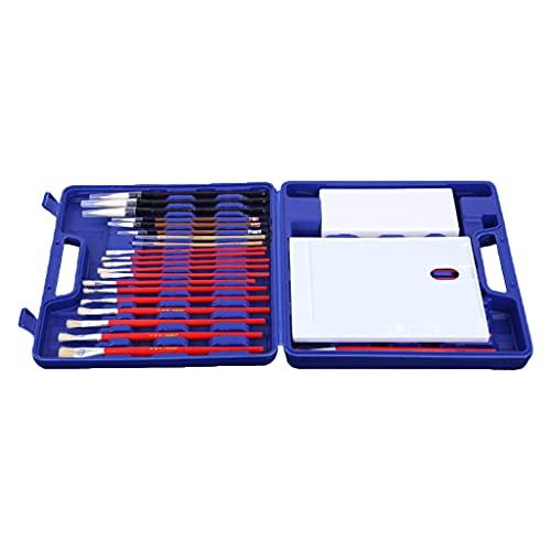 Ixkbiced Pincel de Aceite Gouache Brush Kit de Pincel de Pintura con Estuche de Almacenamiento de Paleta Pincel de Escritura Fino/Medio/Grueso para Pintura Escolar