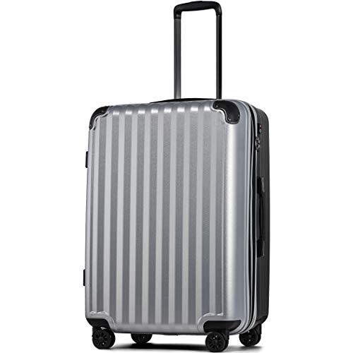 【JP Design】スーツケース 超軽量 拡張 ダブルキャスター 8輪 大型 キャリーケース キャリーバッグ (LLサイズ( 93L〜102L), シルバー/BK)