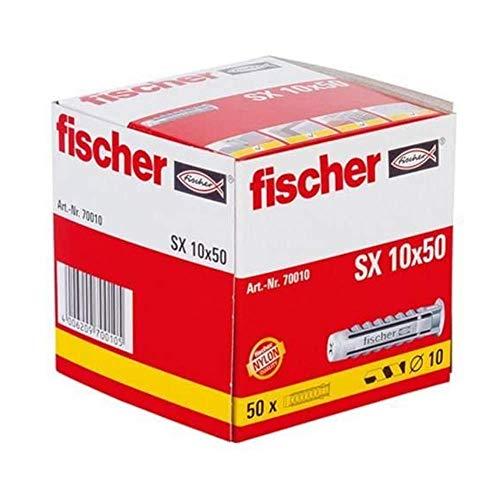 fischer 70010 Taco SX 10x50 (Caja de 50 Ud.), 070010, Gris