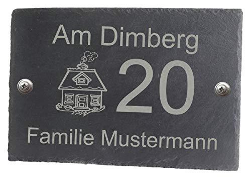 Feiner-Tropfen Hausnummer Schiefer anthrazit Gravur Name schwarz 30x20 cm BK groß Schild Haus