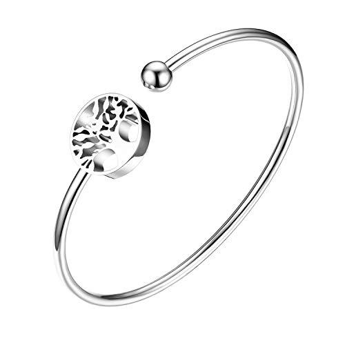 Flongo Damen Armband Frauen Armreif Armkette, Edelstahl Armband Damenarmband Manschette Silber Baum des Lebens Tree of Life Offen-Verschluss Verstellbar
