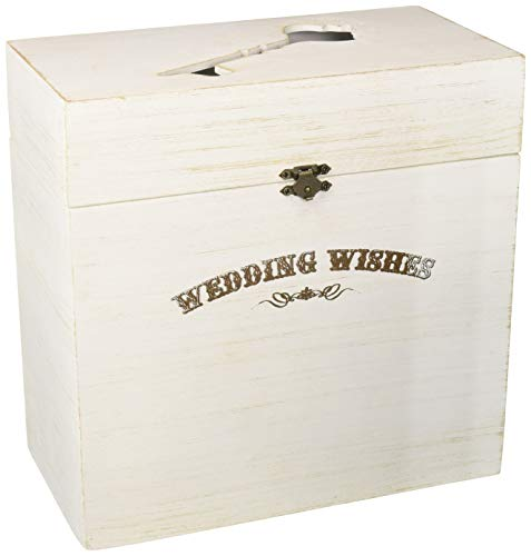 "Lillian Rose White Wood Wedding Wishes Key Card Box, Measures 10"" x 10"" x 5.25"", Rustic Ivory"