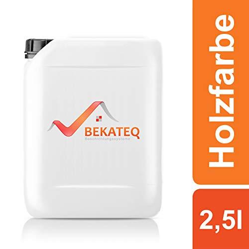 Bekateq Holzschutzfarbe LS-420 seidenglänzend 2,5L, Schwarz, Kunstharzlack für innen und außen, Wetterschutzfarbe für Holz
