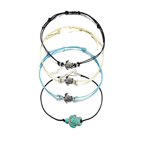 Meetlight 4 Stks Kralen Enkel Vrouwen Schildpad Enkel Armband met Wax Touw Boheemse Voet Ketting Set