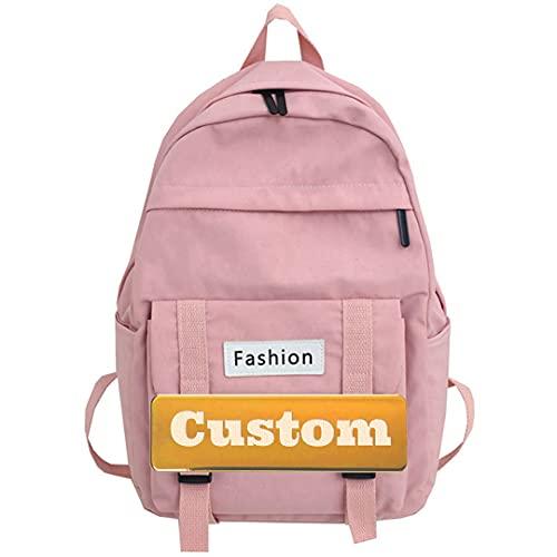 Mzhizhi personalizzato personalizzato nome leggero moda zaino per le donne escursionismo zaino 20l Unisex marrone (colore : rosa, taglia unica)