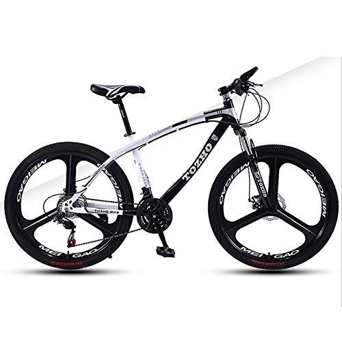 WXX 26 Pouces Haute en Acier au Carbone VTT avec Suspension Avant Siège réglable Fat Tire Hard Tail Double Shock Absorber City Mountain Bike,Noir,24 Speed