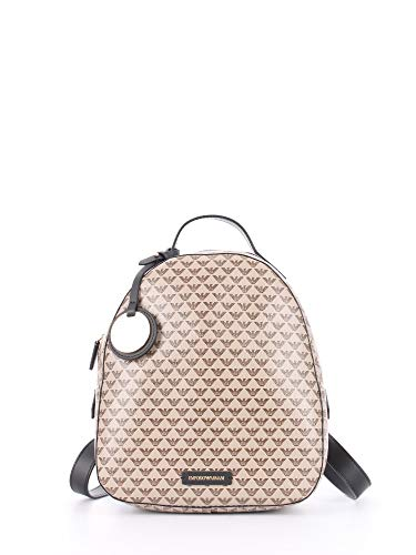 Emporio Armani Women's Designer Mini Logo Pattern Fashion Backpack, Brown/Tan/Black, One Size