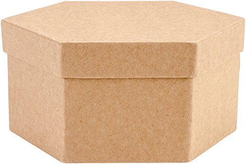 Arte alternativas Paper-Mache Hexagonal Caja Set 5/PKG, Multicolor, 15,24x 14.73x 7.11cm