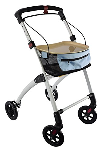Days Breeze White Indoor 4 Wheel Rollator, Includes Basket and Tray, Assistive Walking Device, 4 Wheeled Walker