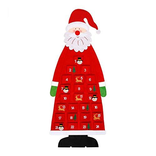 STOBOK Navidad Calendarios de adviento, Fieltro papá Noel Calendario de adviento Colgante Cuenta Regresiva de 24 Bolsillos Calendario de Navidad para Oficina en casa (Rojo)