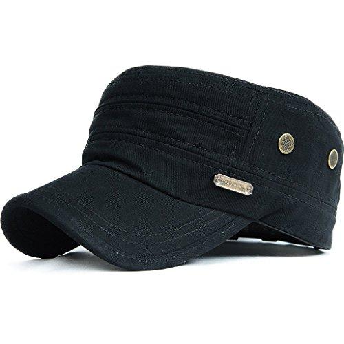 Kuyou Unisex Army Military Flat Cap Vintage Cotton Baseballmütze Kappe, 002Schwarz, Einheitsgröße