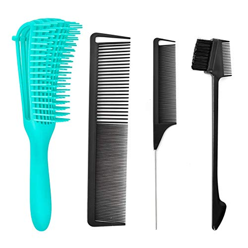 Detangling Hair Brush Set, Detangler Brush with Edge brush, Rat Tail Comb, Cutting Comb Set for Black Natural Curly Wet Dry Thick Straight Long Hair, Afro American Type 3a-4c, Comfortable Grip.