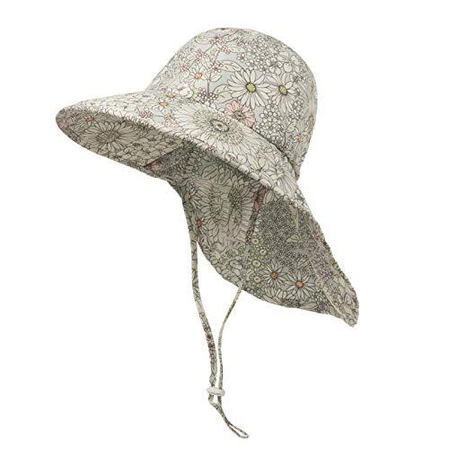Sombrero para el Sol Niños Gorra Pescador de Bebé Sol Protección Algódon Unisexo Gorro Ajustable Plegable Estapado Estrella Verano UV Hat,Blanco