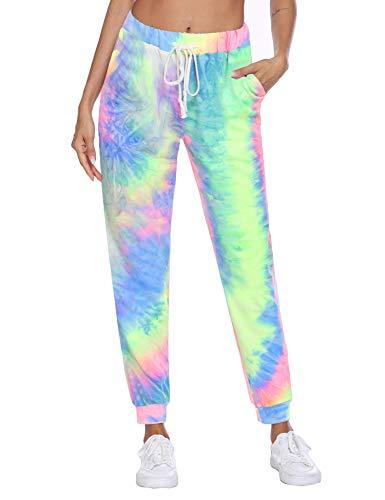 Beyove Women Tie Dye Joggers Pants Funny Graphic Sweatpants Unisex Casual Mens Sweatpants Sport Track Sweatpants Baggy