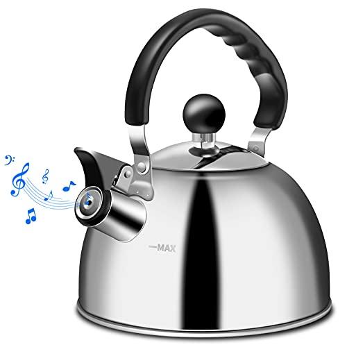 Tea Kettle Stovetop Whistling Kettle Teapot, Food Grade Stainless Steel Teakettle for Stove Top with Heat Proof Erogonomic Folding Handle, 2 Quart Small Tea Pot