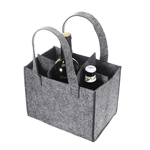 Mowtom Canasta de Botellas Bolso de Hombre Bolsa de Fieltro Bolsa de Botella Fieltro para 6 Botellas Portador de Botella Bolsa de Compras Bolsa de Almacenamiento 24 * 12 * 24 cm