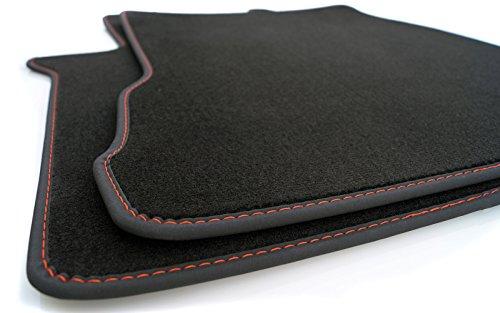 Fußmatten FH 4 Velours Automatten Premium Original Qualität 2-teilig schwarz Nubukleder Einfassung mit roter Naht