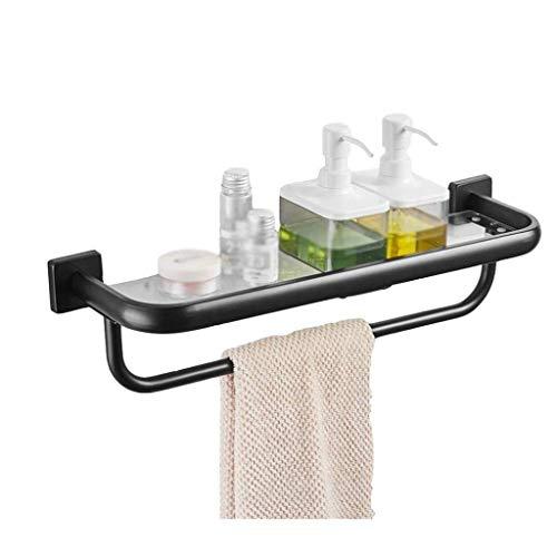 ADSE Estantes de baño Estante de baño montado en la Pared, Acero Inoxidable 304 Estante de Vidrio para baño Tocador Negro Cosméticos de baño Toallero Marco Frontal con Espejo (Tamaño: 500 mm)