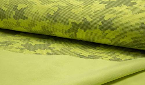 Qualitativ hochwertiger Softshell Stoff, Camouflage, Neon Gelb, reflektierend als Meterware zum Nähen von Baby, Kinder- und Erwachsenen Kleidung, 50 cm