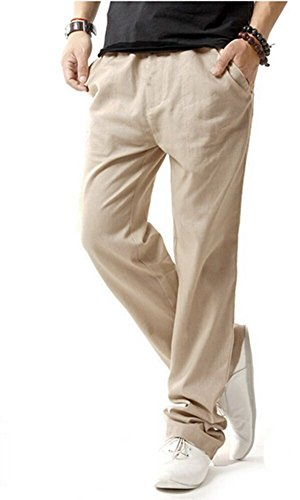 HOEREV Pantaloni Casual da Uomo in Lino,Beige,Medium