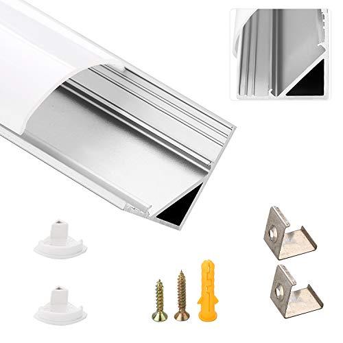LED-Gigant - Perfil led de aluminio (1 m, 6 unidades, para tiras de LED de hasta 10 mm, incluye cubiertas de color blanco lechoso, tapas y material de montaje), 6pcs-1m-V