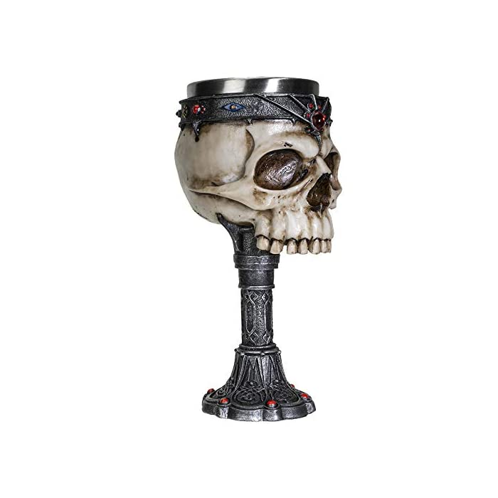 Summit Collection Crowned Gothic Ossuary Skull Wine Goblet Removable Stainless Steel Insert Stemware Sacrificial Ceremonial Skull Wine Chalice Goblet 7 Fl Oz Drinkware Halloween Decor