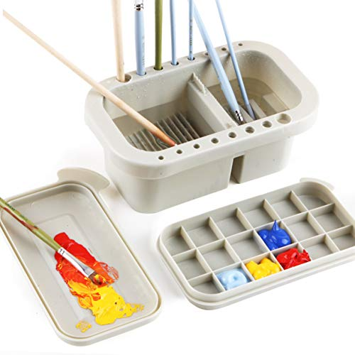 Martol Multi-Use Paint Brush Basin with Brushes Holder,Washer,Trays,Palette Box-Artist Cleaner Cup for Watercolor Oil Acrylic Gouache Painting with Lid