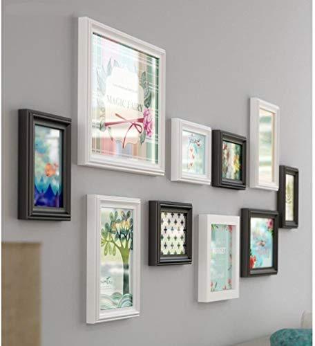 Jjek fotolijst massief hout foto muur combinatie, landelijke stijl foto muur 10 stk, eenvoudig scherm ontwerp, geschiktvoor restaurant woonkamer decoratieve muur B